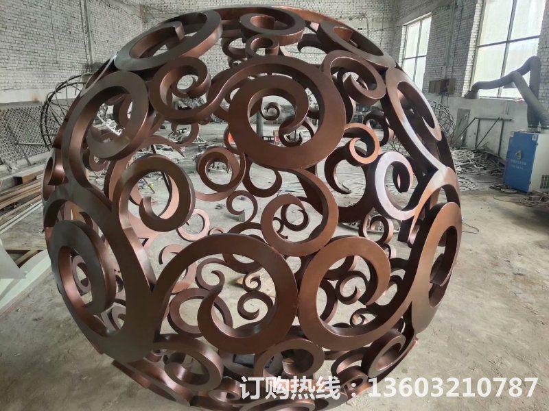 304不锈钢镂空球雕塑2