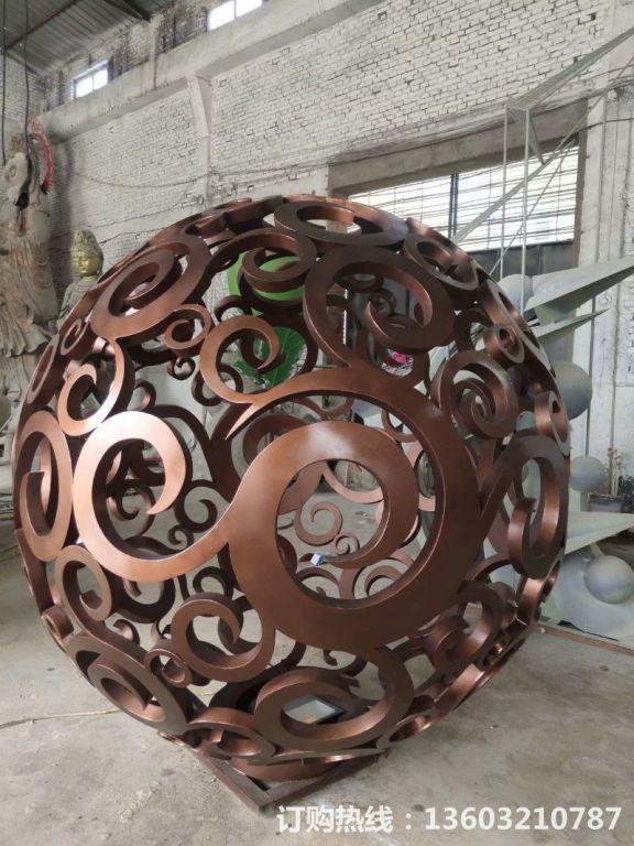 304不锈钢镂空球雕塑10