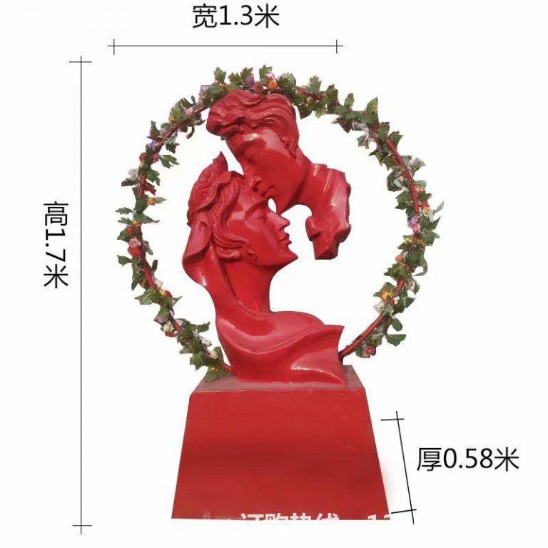 爱情专题雕塑,红色爱情雕塑,男人吻女人雕塑,婚庆装饰1
