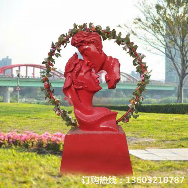 爱情专题雕塑,红色爱情雕塑,男人吻女人雕塑,婚庆装饰