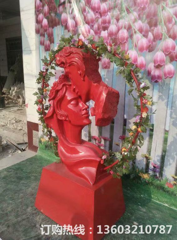 爱情专题雕塑,红色爱情雕塑,男人吻女人雕塑,婚庆装饰2