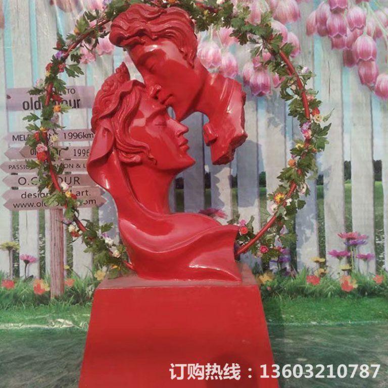 爱情专题雕塑,红色爱情雕塑,男人吻女人雕塑,婚庆装饰4